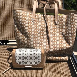 Stella & Dot cork tote with matching clutch